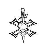 Skull with Sword and Maltese Cross Vinyl Auto Car Truck Window Decal Sticker #sku-018