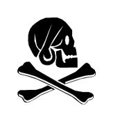 Skull and Crossed Bones Vinyl Window Graphic Decal sku-027