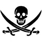 Pirate Skull with Crossed Swords Vinyl Window Graphic Decal sku-028