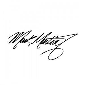 "6.5"" x 16"" Mark Martin Signature 5 Vinyl Window Decal Sticker"