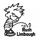 "6"" Calvin Pee Piss on Rush Linbaugh Vinyl Decal Window Sticker"
