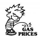 "6"" Calvin Pee Piss on Gas Prices Vinyl Decal Window Sticker"