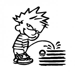 "6"" Calvin Pee Piss on Obama's New Flag Vinyl Decal Window Sticker Political Humor"