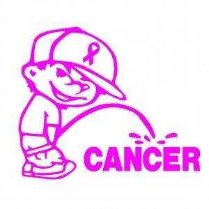 "6"" Calvin Pee Piss on Breast Cancer Vinyl Decal Window Sticker"