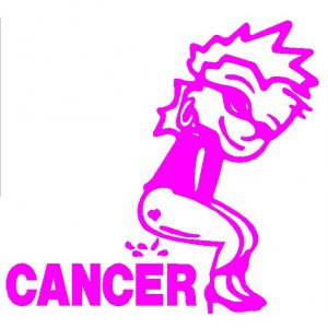 "6"" Calvin Girl Pee Piss on Breast Cancer Vinyl Decal Window Sticker"