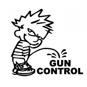 "12"" Calvin Pee Piss on Obama's Liberal Gun Control Vinyl Decal Window Sticker"