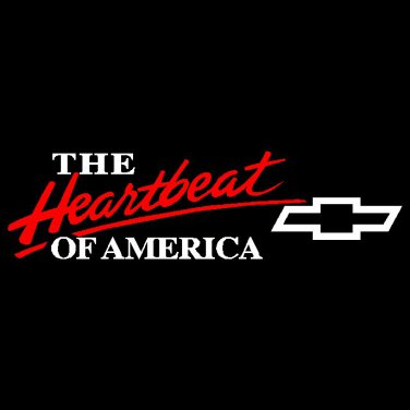"""3.25"""" x 12"""" 2 Color Heartbeat of America Chevy Vinyl Decal Window Graphic Sticker"""