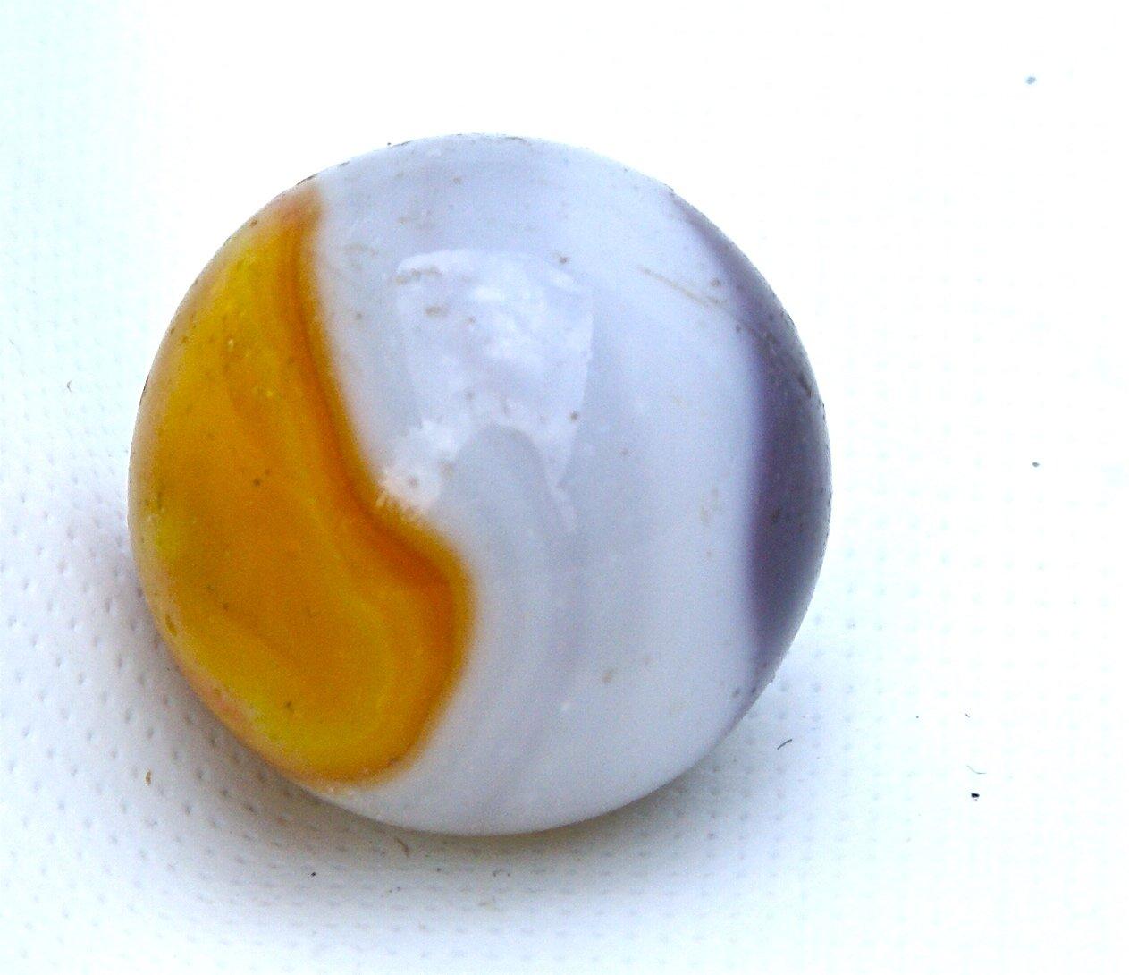 Vintage Akro Agate Shooter Marble Purple, Egg Yolk & White
