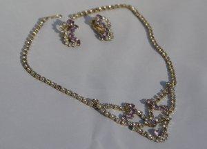 Vintage Rhinestone Necklace & Earrings c1950