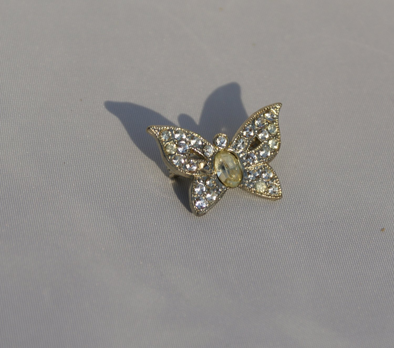 Vintage Rhinestone Butterly Collar Pin c1930-1940