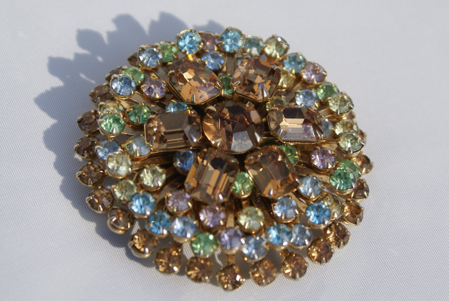 Vintage Juliana Brooch with old European finely cut masterpiece stones c1920