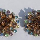 Vintage Clip Earrings Made of Fine Cut Rhinestones c1920