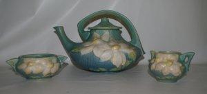 Roseville Blue Green Clematis Teapot Set c1940