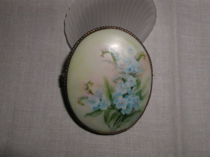 Antique Hand Painted Forget Me Not Porcelain Brooch