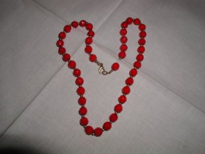 Vintage Faceted Czech Faceted Red Glass Necklace