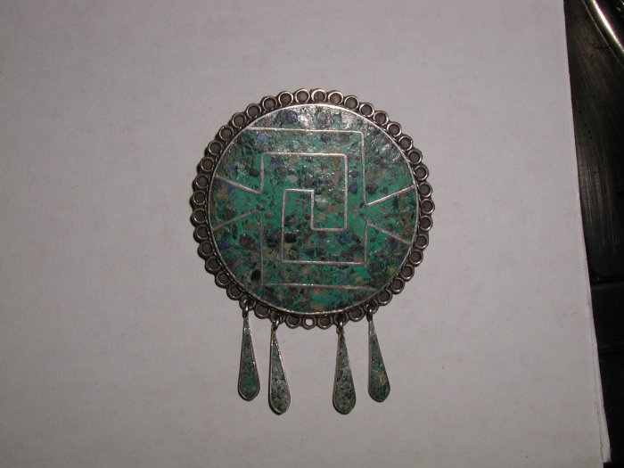 Taxco Sterling Turquoise Mosaic Pendant Brooch