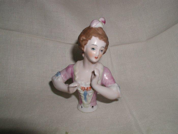 "Antique Victorian Boudior Half Doll Pin Cushion Hands Away 5"""