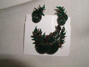 Earrings and Pin Green Grey Gimp 1940's