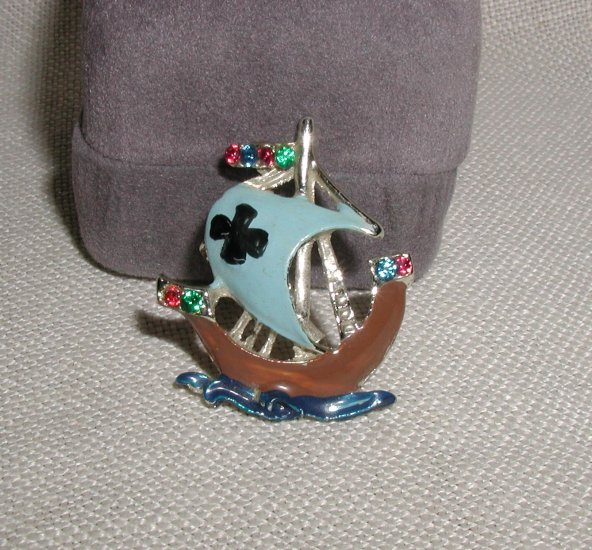 Vintage Enamel Viking Ship Pin