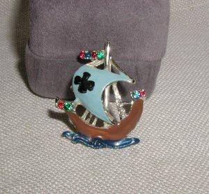 Vintage Enamel Viking Ship Pin