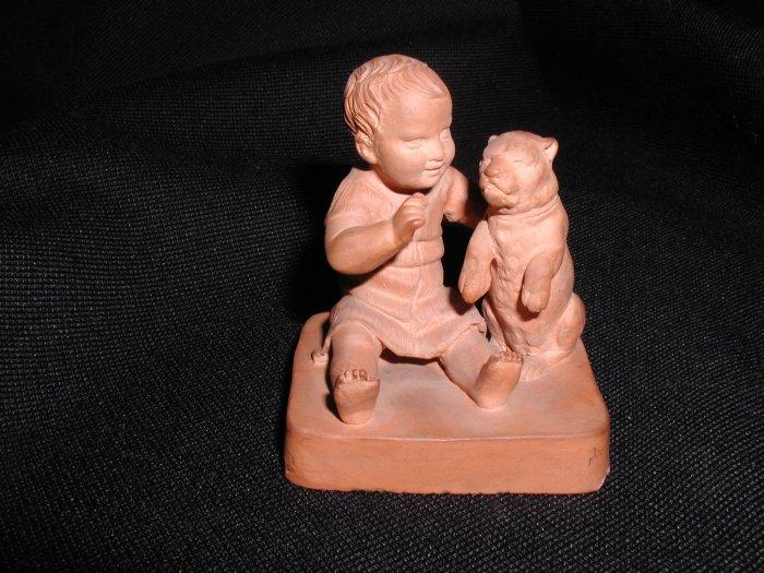 Rare Antique P. Ipsen Peter Ipsen Child with dog Figurine