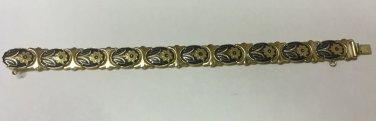 Vintage Damascene Toledo Ware Gold Black Enamel Link Floral Scenery Bracelet