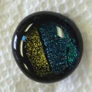 Dichroic Glass Handmade Button Lovely Turquoise and Gold Olive Colors #4