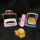 Vintage Fisher Price Doll House Miniature 3 piece lot parts