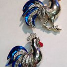 Vintage GERRY'S ROOSTER PAIR Brooch Male Chicken Cock Goldtone Enamel 1 1/8""