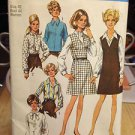 VTG SIMPLICITY PATTERN SIZE 40, 1969 JUMPER BLOUSE COMP UNCUT FACT FOLDED #8408