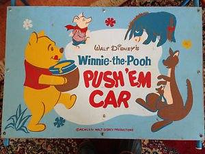 Vintage 1964 Walt Disney's Winnie the Pooh Push 'Em Car Child's Toy Box Cart