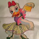 "Vintage Disney Dennison 10"" Daisy Duck Die Cut Cardboard Decoration 60s"