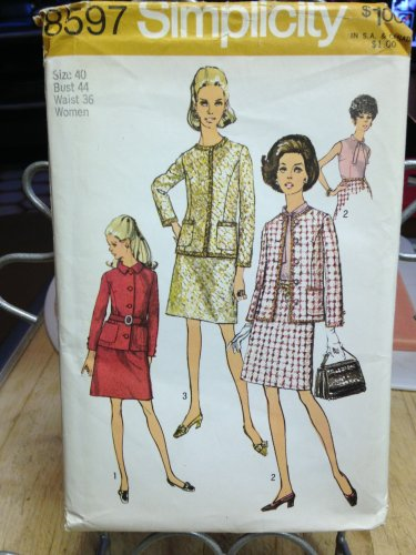 Simplicity Vintage Pattern #8597  New Unused, Factory Folded Size 40 Dress and Coat