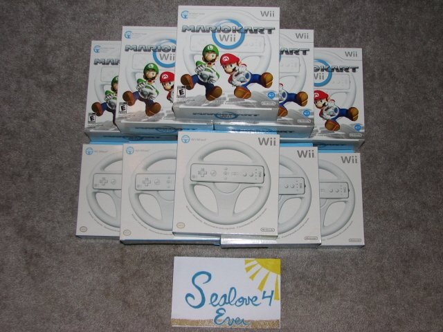 Mario Kart Wii Game w/ 2 Nintendo Wheels