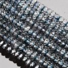 Czech glass 2-tone blue clear fire-polished 8x4mm Faceted Rondelle 16-inch Strand Qty 1