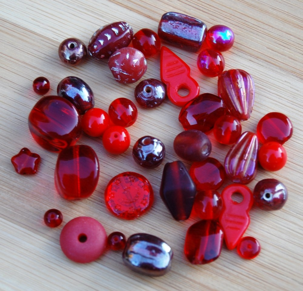 Assorted Large Ruby Red Glass Beads Mix