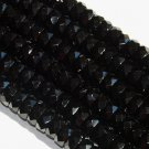 Czech glass Opaque Black fire-polished 8x4mm Faceted Rondelle 16-inch strand Qty 1
