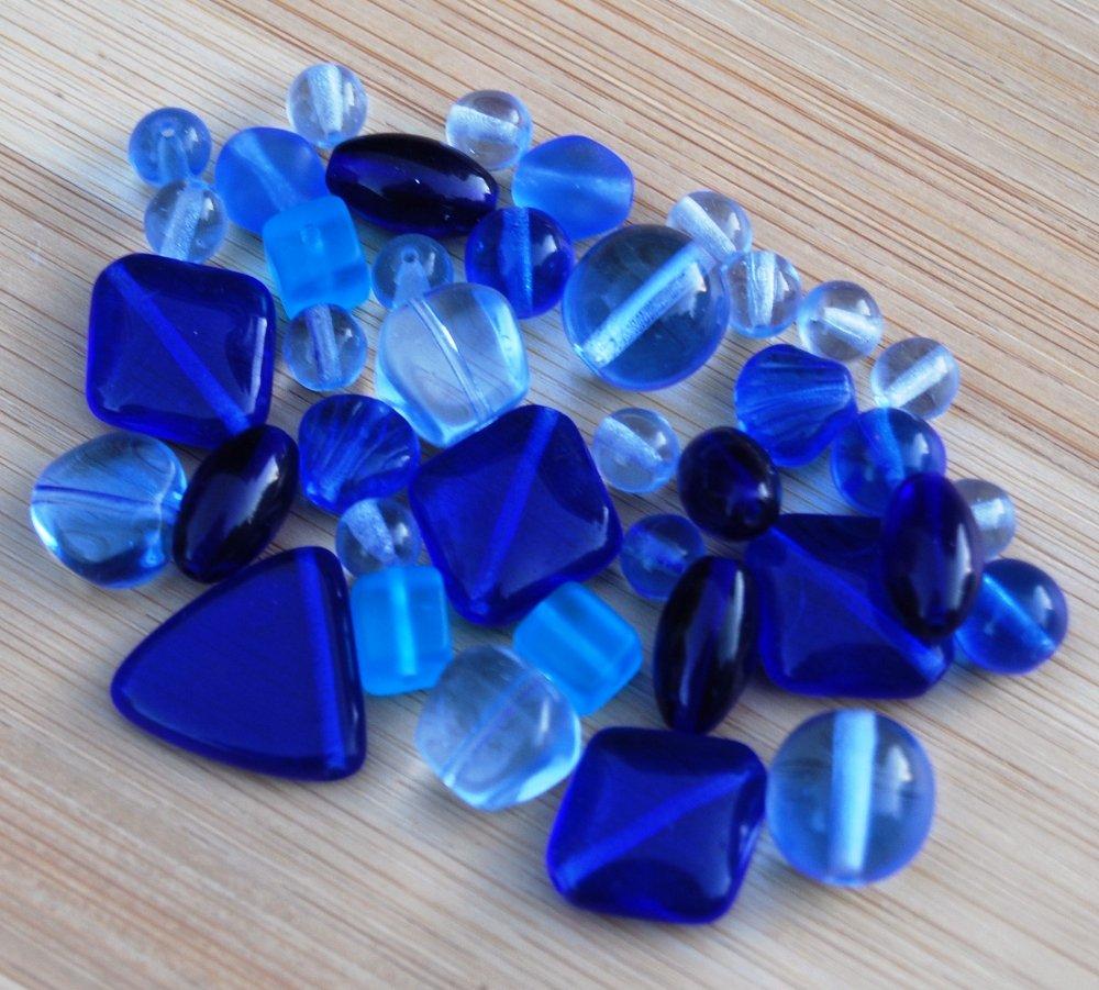 Cobalt Blue Czech Glass Beads Mix Assorted Shapes