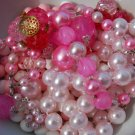 Vintage Pink and White Beads Plastic Assortment Lot