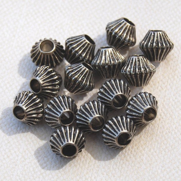 Corrugated Bicone 7mm Beads Silverplated Qty 15