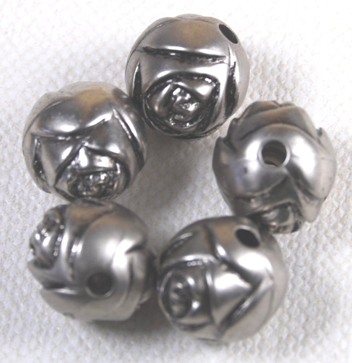 Rose Silverplated Beads 9mm Qty 5
