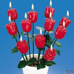 Long-Stemmed Red Rose Candles
