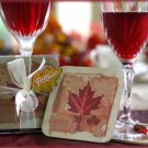 """Fall in Love"" Maple Leaf Coaster Set"