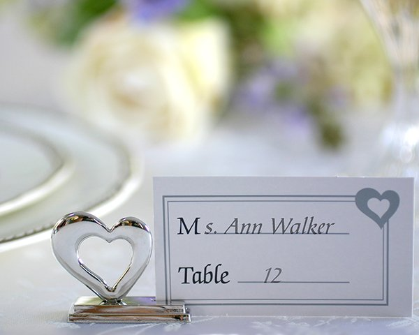 'Playful Hearts' Silver Placecard Holders with Matching Place Cards (Set of 4)