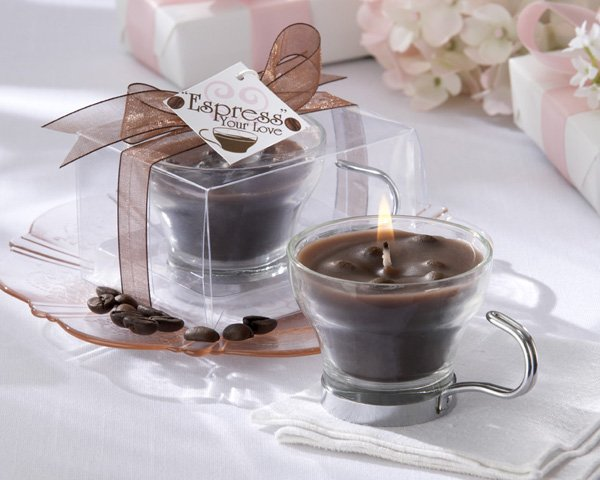 """Espress Your Love"" Coffee-Scented Glass and Chrome Caffe' Cup Candle"