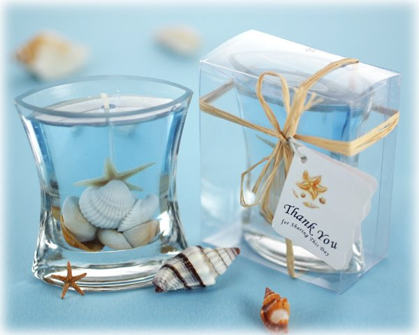 Seashells Gel Candle in Clear Gift Box with Raffia Tie and Thank You Tag