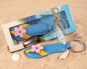"""Flip Flops"" Genuine Leather Keychain"