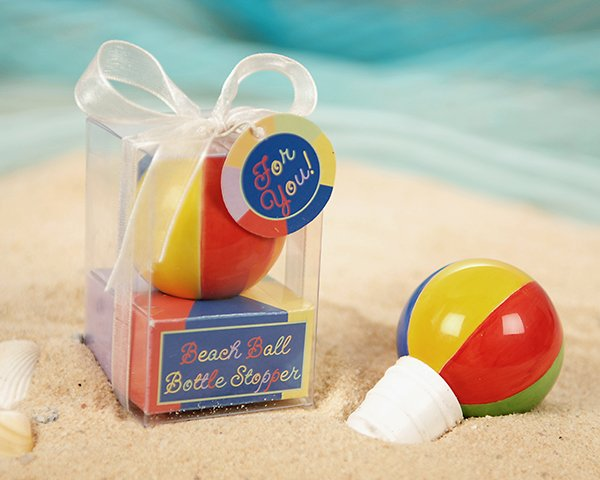"""""""Have a Ball!"""" Hand Painted Ceramic Beach Ball Bottle Stopper"""