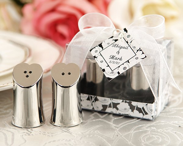 """Seasoned with Love"" Heart-shaped Salt and Pepper Shakers in Elegant Gift Box"