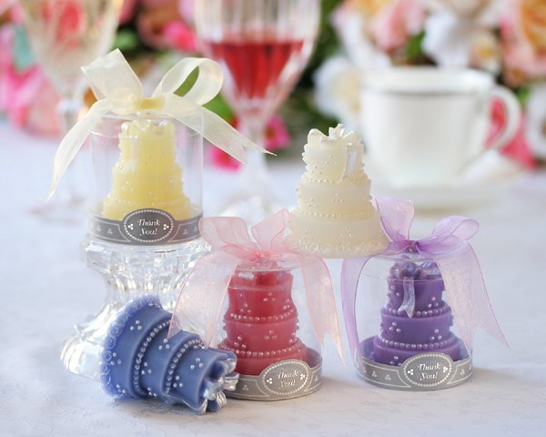 Wedding Cake Candle in Round Showcase Gift Box with Ribbon